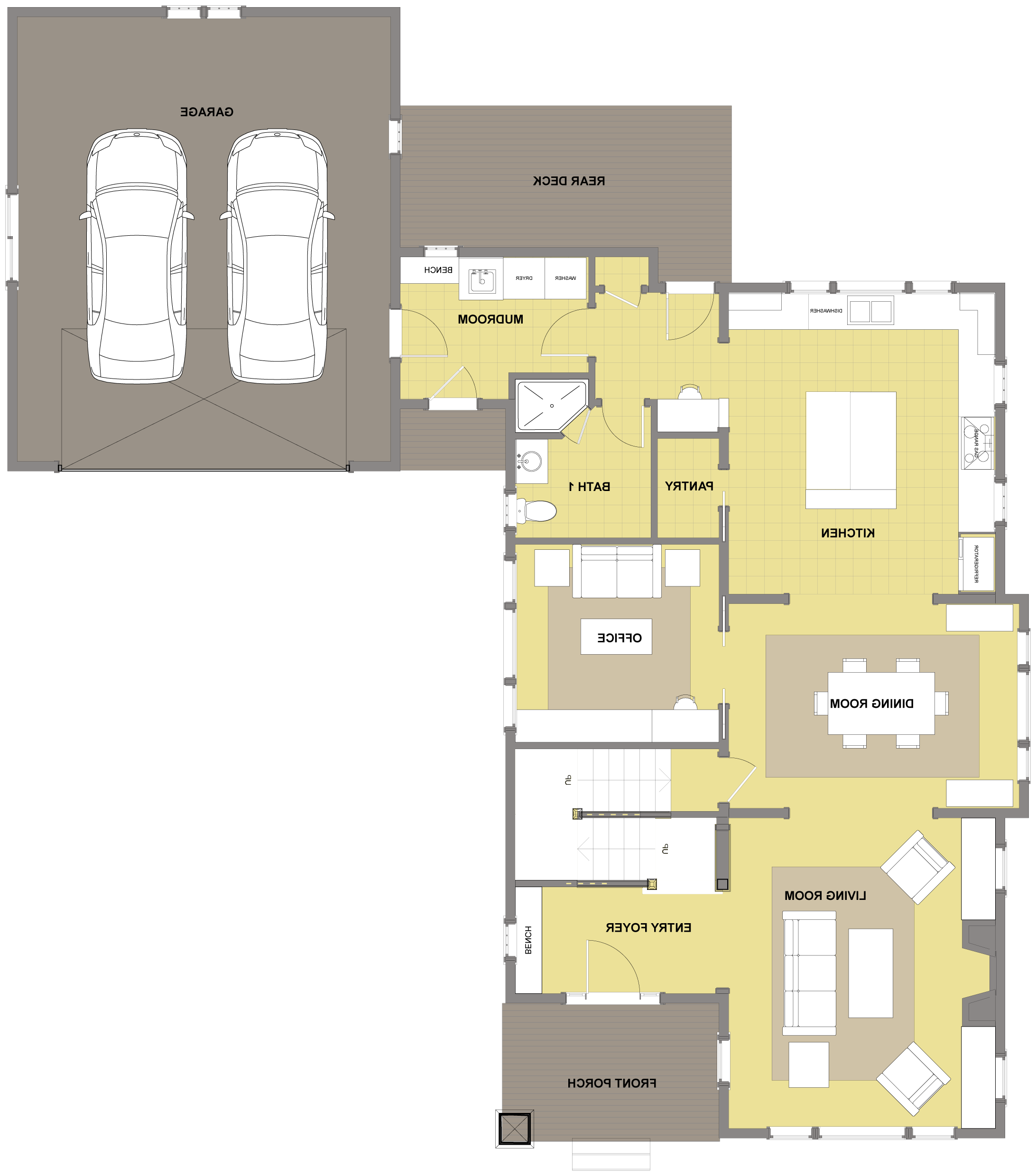 Kitsap First Floor - Floor Plan Reverse