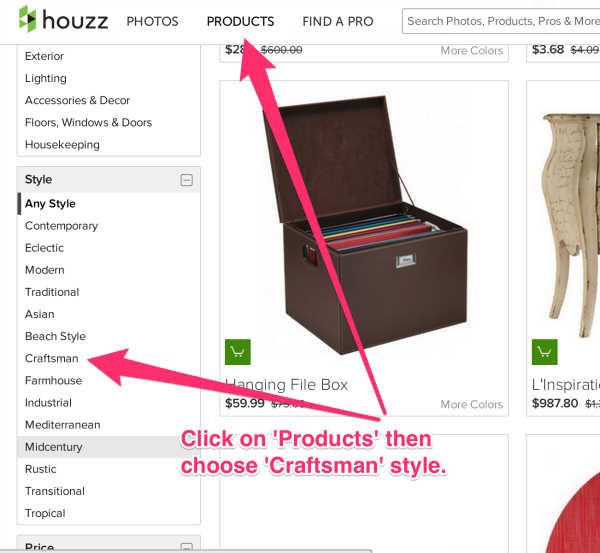 Click-On-Products-then choose-Craftsman-Style