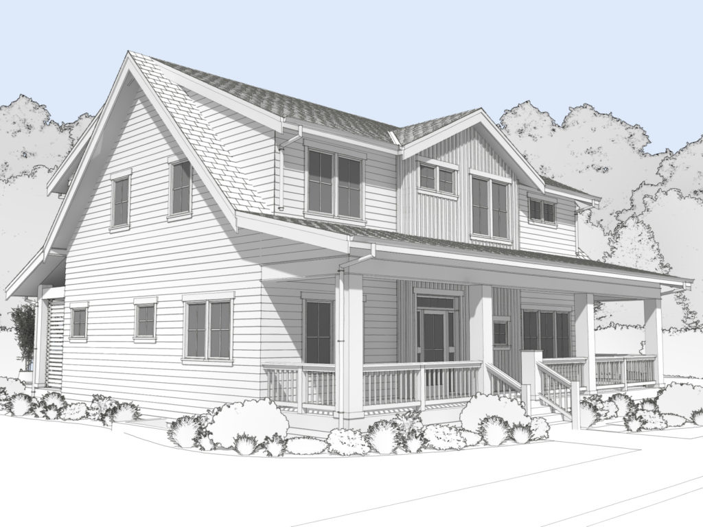 Rendering of Bungalow Company modern farmhouse home.