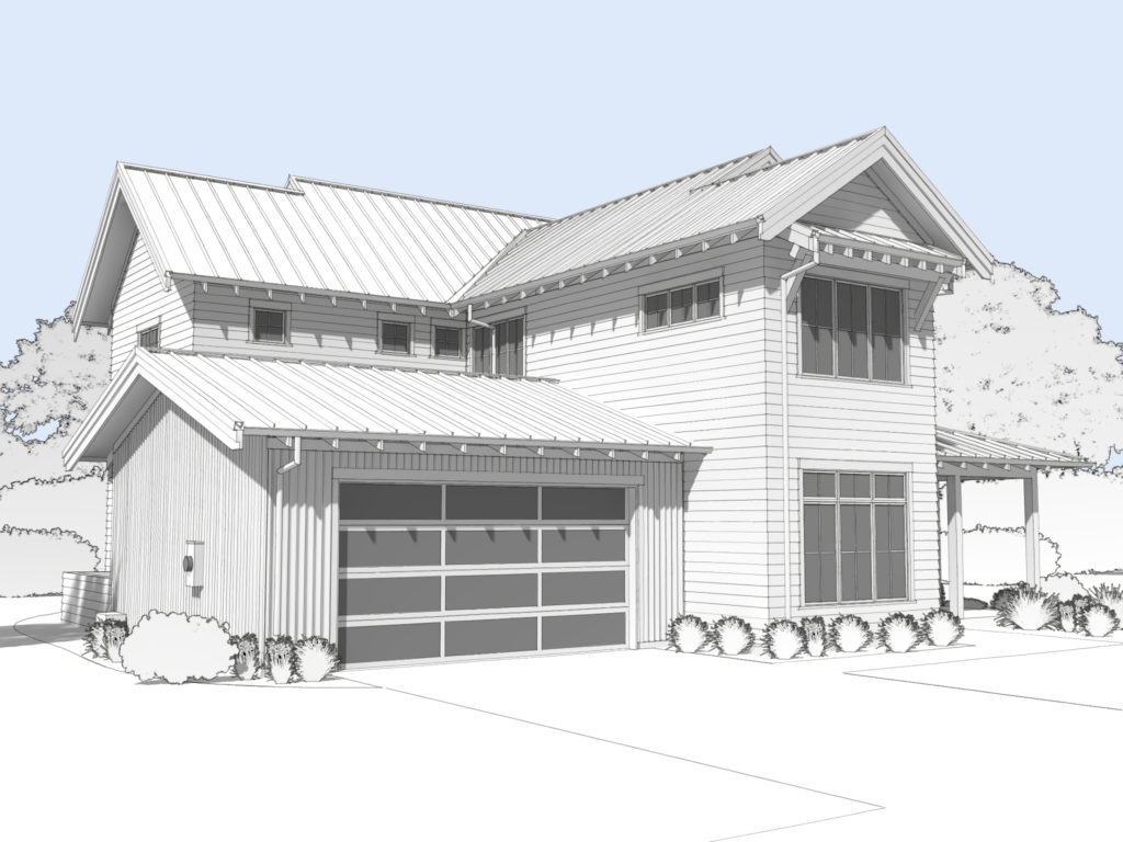 Modern farmhouse rendering