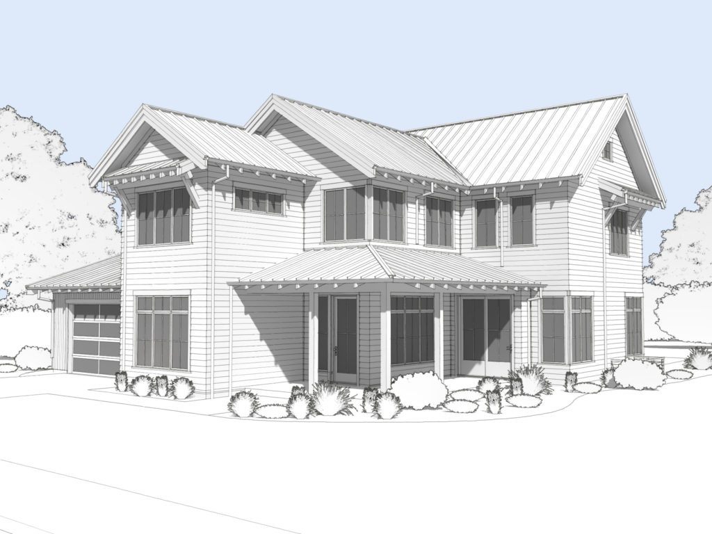 Rendering of modern farmhouse front elevation