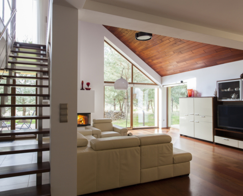 Contemporary living room and wooden stairs